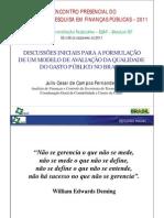 Apresentação Projeto de Pesquisa em Finanças Públicas, ESAF/MF, Brasília/DF, 2011