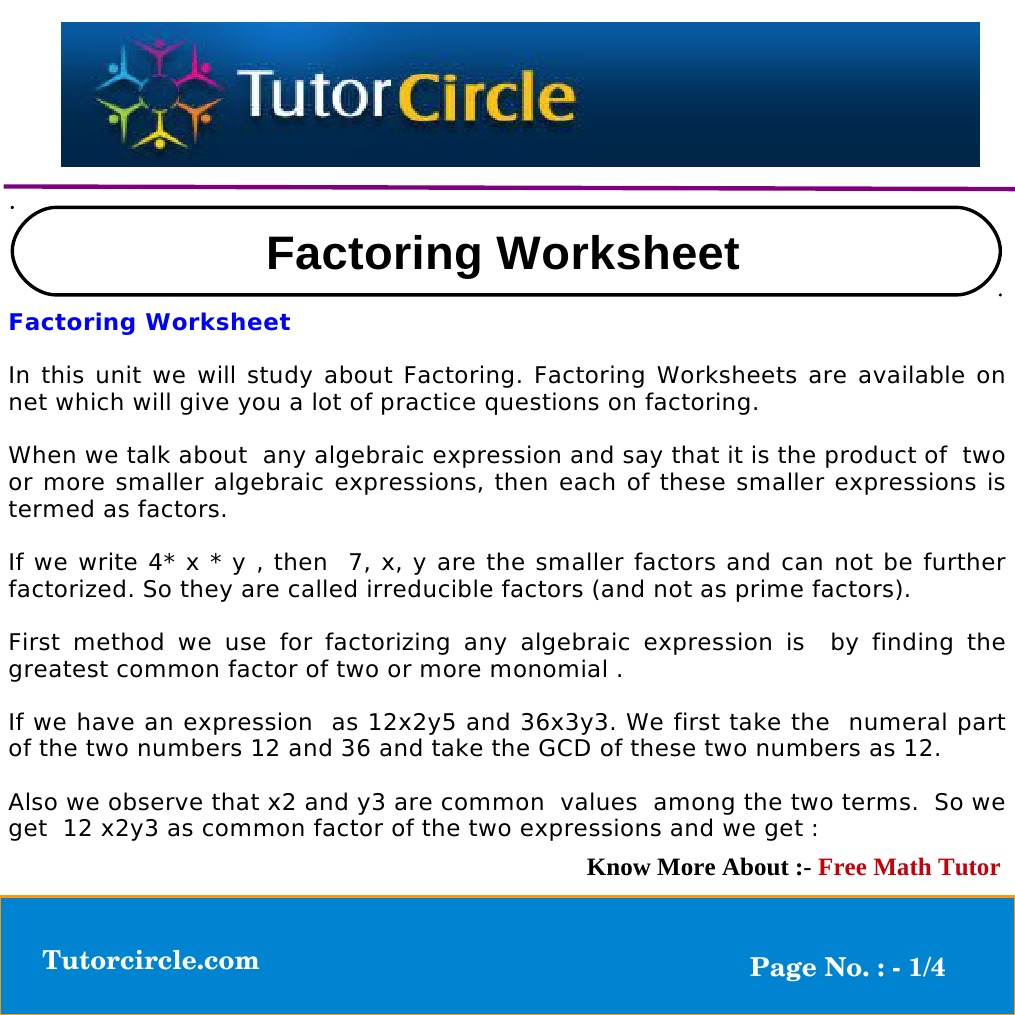 Factoring Worksheet Factorization Functions And Mappings
