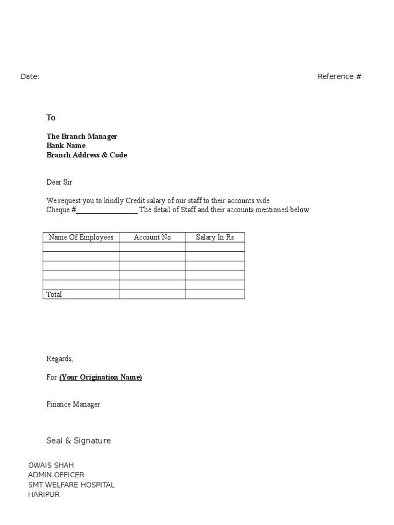 Letter For Salaries Transfer To Bank