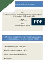 Internacionalização Empresas Portuguesas para os PECO - Soc. Geografia de Lisboa, 25 de Junho de 2012