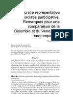 Democracia representativa y participativa. Comparacion Colombia Venezuela (frances)