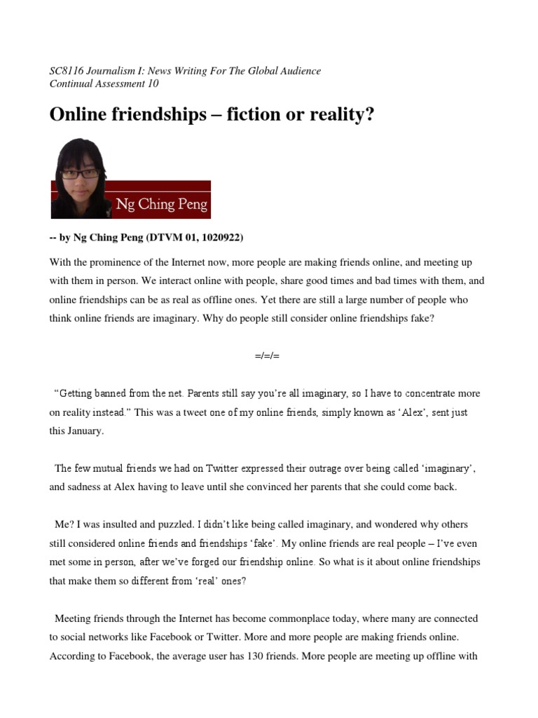 Online friendships - fiction or reality? | Friendship