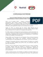 Qualium Investissement - Nutrial Communique Presse