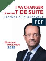 L'Agenda Du Changement de François Hollande
