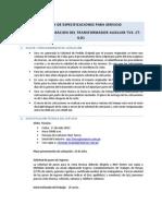 Servicio Insp Mantto Transformador Auxiliar TV3