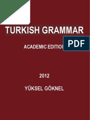 Tutkish Grammar Academic Edition Yuksel Goknel 2012 Verb