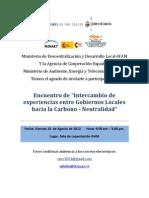 """I Encuentro de """"Intercambio de experiencias entre Gobiernos Locales hacia la Carbono - Neutralidad"""""""