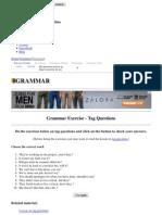 Grammar Exercise - Tag Questions