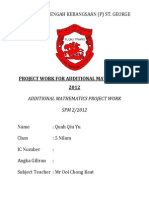 Project Work for Additional Mathematics 2012 (Penang)
