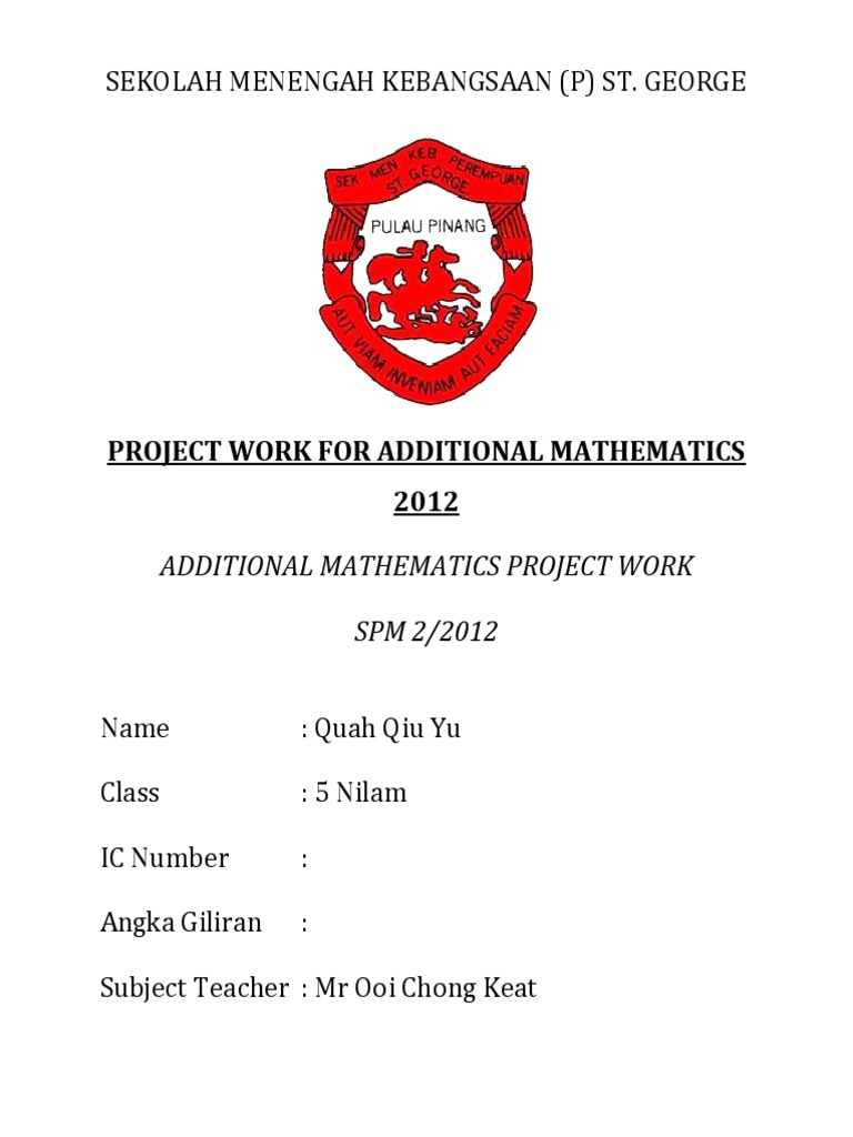 Project Work for Additional Mathematics 2012 (Penang) | Price ...