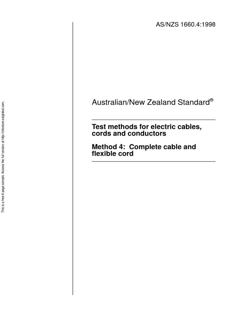 House Wiring Testing Methods As Nzs 16604 1998 Test For Electric Cables Cords And Conductors Complete Cable Flexible Cord Electrical Copyright
