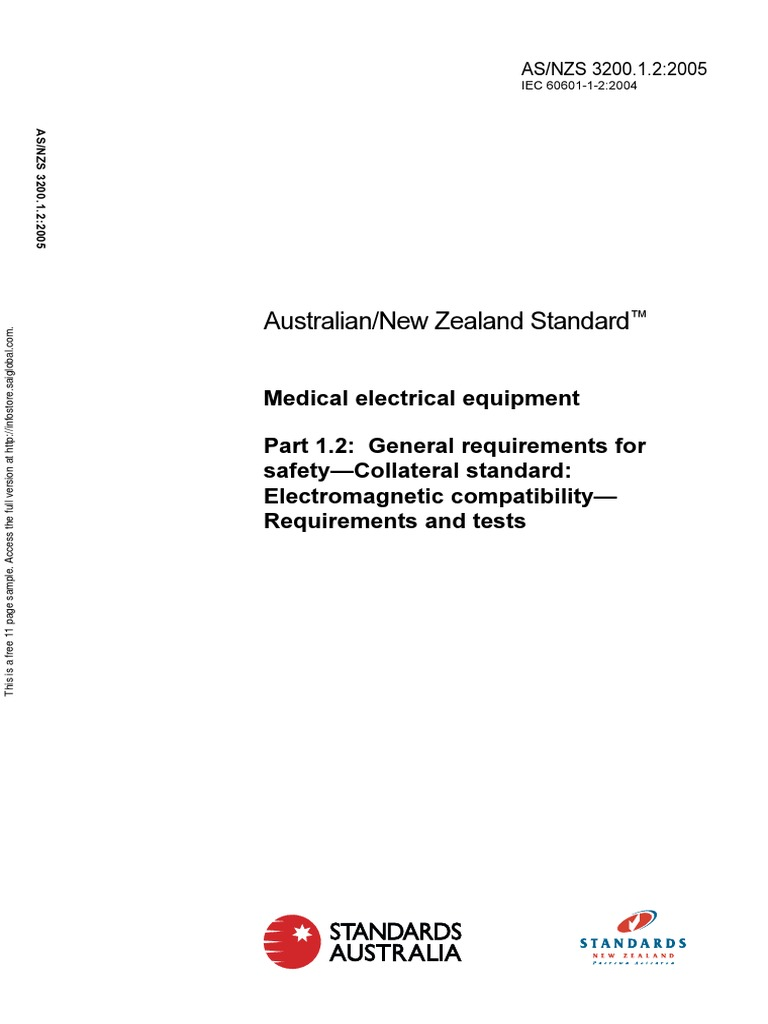 As Nzs 320012 2005 Medical Electrical Equipment General Wiring Regulations New Zealand Requirements For Safety Collateral Standard Elec Electromagnetic Compatibility