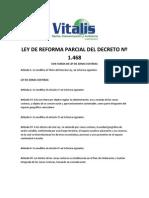 LEY DE REFORMA PARCIAL DEL DECRETO Nº 1