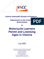 Motorcycle Licensing Age Submission 2003
