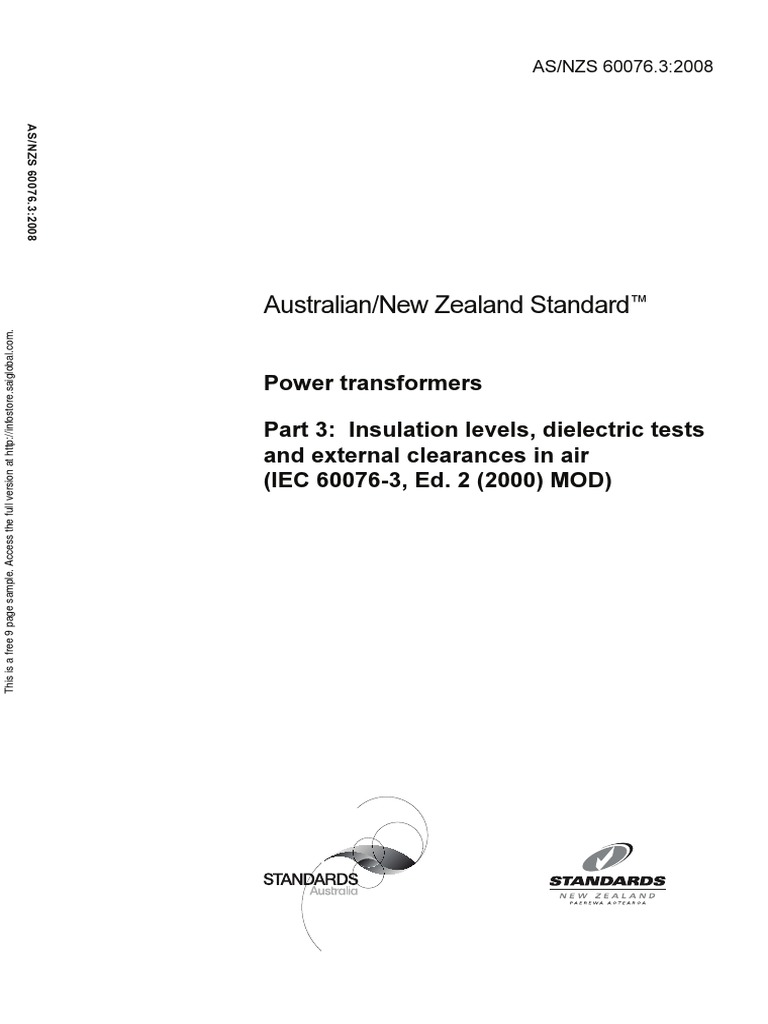 As NZS 60076.3-2008 Power Transformers Insulation Levels Dielectric Tests  and External Clearances in Air (IEC | Insulator (Electricity) | High Voltage