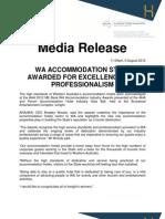 AHA WA Media Release 2012 Accommodation Industry Awards