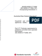As NZS 60335.2.77-2002 Household and Similar Electrical Appliances - Safety Particular Requirements - Particu