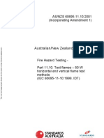 As NZS 60695.11.10-2001 Fire Hazard Testing Test Flames - 50 W Horizontal and Vertical Flame Test Methods