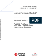 As NZS 60695.11.4-2004 Fire Hazard Testing Test Flames - 50 W Flames - Apparatus and Confirmational Test Meth