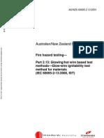 As NZS 60695.2.13-2001 Fire Hazard Testing Glowing Hot Wire Based Test Methods - Glow-Wire Ignitability Test