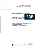 As NZS 60745.2.8-2003 Hand-Held Motor-operated Electric Tools - Safety Particular Requirements - Particular r
