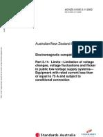 As NZS 61000.3.11-2002 Electromagnetic Compatibility (EMC) Limits - Limitation of Voltage Changes Voltage Flu