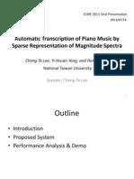 Automatic Transcription of PIano Music - Presentation at ICME 2011