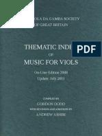 DODD, Gordon • THEMATIC INDEX OF MUSIC FOR VIOLS (Viola da Gamba Society, 2011)