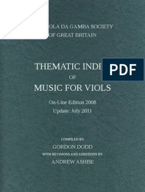DODD, Gordon • THEMATIC INDEX OF MUSIC FOR VIOLS (Viola da Gamba