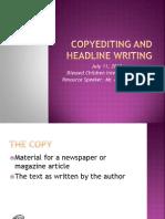 Campus Journalism - Copyreading and Headline Writing