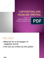 Campus Journalism - Copyreading and Headline Writing