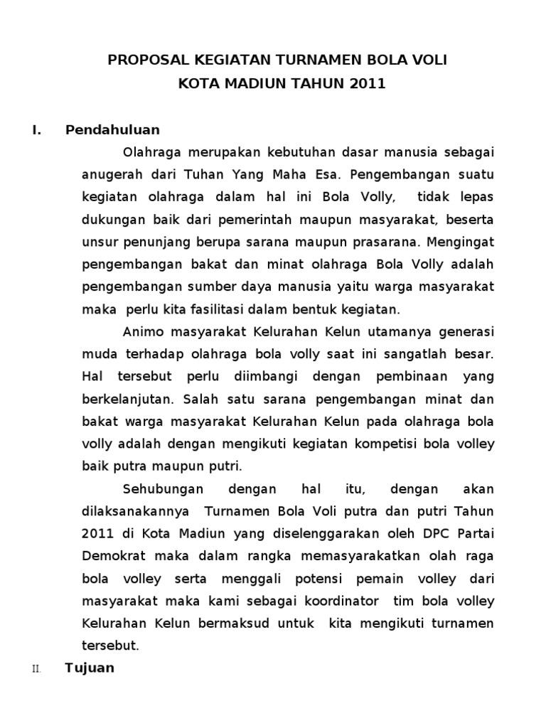 Proposal Kegiatan Turnamen Bola Voli Antar Kelurahan Tahun 2011