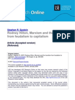 Rodney Hilton Marxism and Debate on Transition From Feudalism to Capitalism