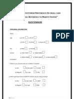 Maruti Questionnaire