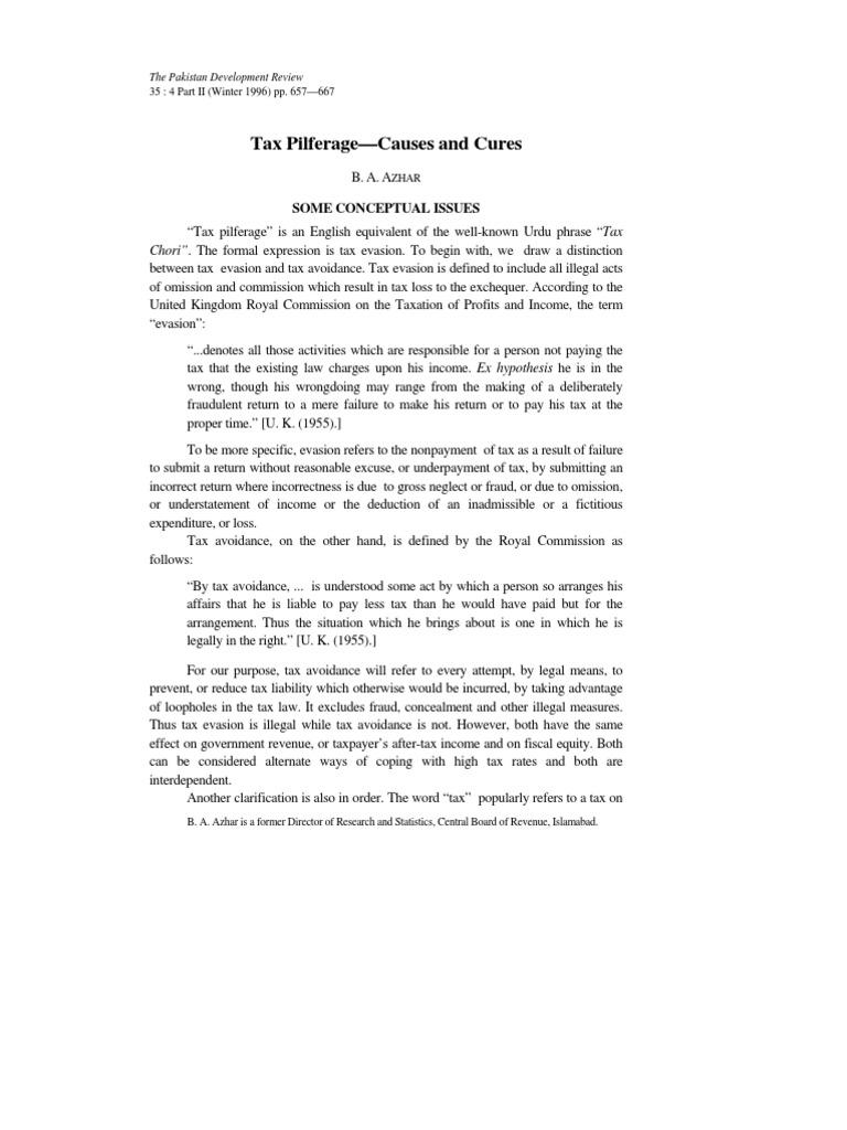 tax (tax pilferage) | tax evasion | tax avoidance