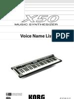 X50 Voice List