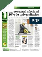Acoso Sexual Afecta Al 30 Por Ciento de Universitarios