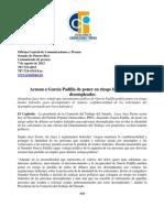 Senadora Lucy Arce acusa a García Padilla de poner en riesgo fondos federales para desempleados