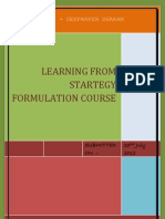 Learning From Startegy Formulation Course