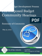 City of San Antonio Budget Hearing Comments, May 2012