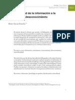 De la sociedad de la información a la sociedad del desconocimiento (sobre reconocimiento) - G Canclini