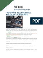 DEFEITOS E SOLUÇÕES PARA NOTEBOOKS E NETBOOKS