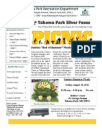 Silver Foxes Newsletter - August 2012 from the Takoma Park Recreation Department
