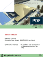 Ridgeland Common project budget review - August 2012