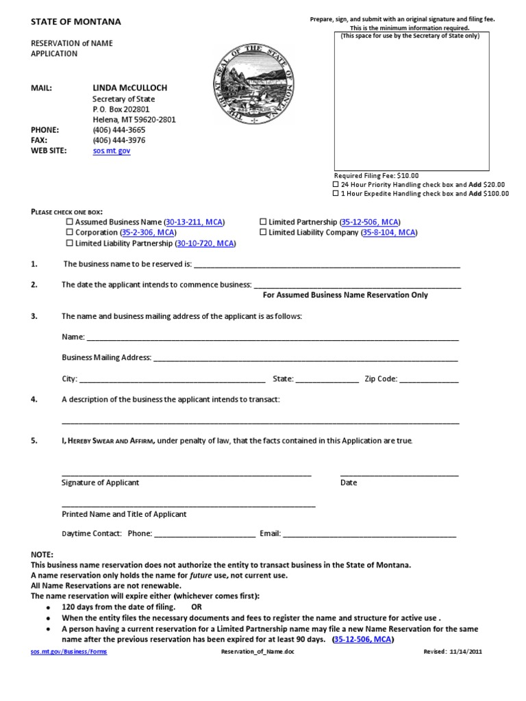 Montana Corporation Reservation Of Name Limited Partnership