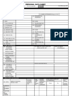 PDS CS Form 212 Revised 2005 Personal Data Sheet