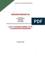 PRÉSENTATION DU MÉMOIRE SUR LES ACCOMMODEMENTS RAISONNABLES (2007)