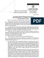 First Quarter Review of Monetary Policy 2012-13 Press Statement by Dr. D. Subbarao