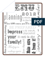 BOLD Turquoise Menu Planner 2012