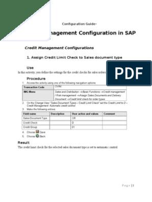 SAP Credit Management Configuration | Computing | Technology